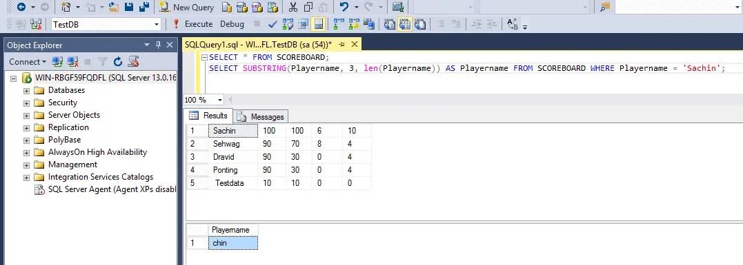 SQL String Functions Substring