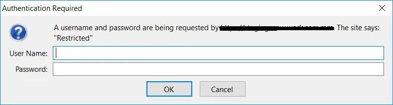 Authentication Popup Window