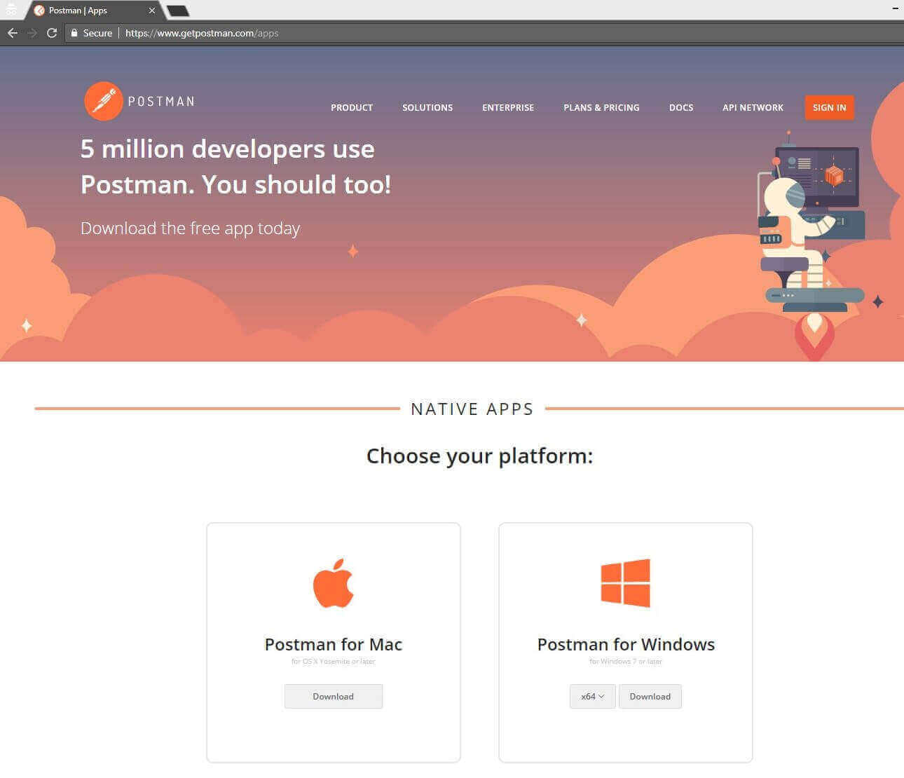 Install PostMan Home Page