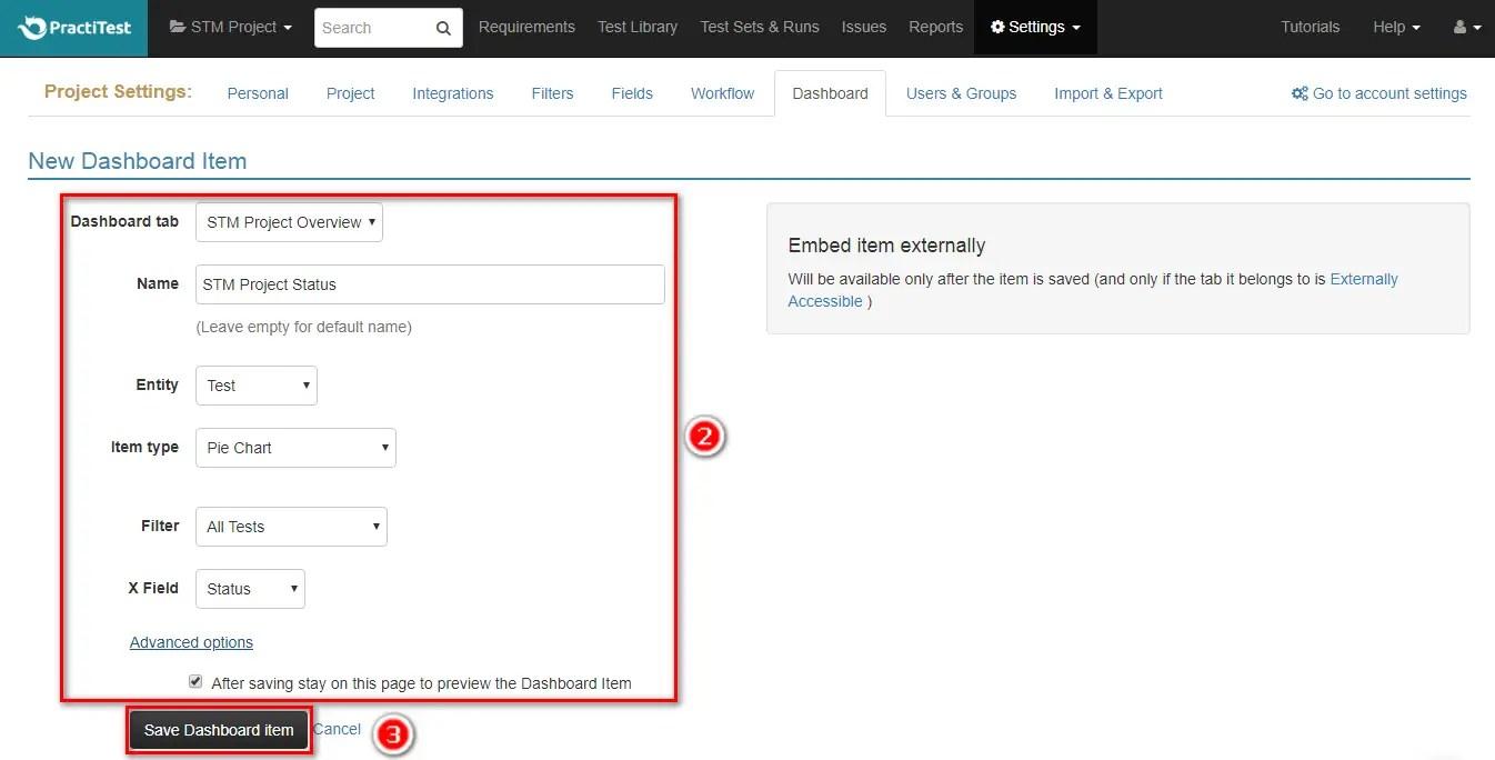 PractiTest Add Dashboard Items Save