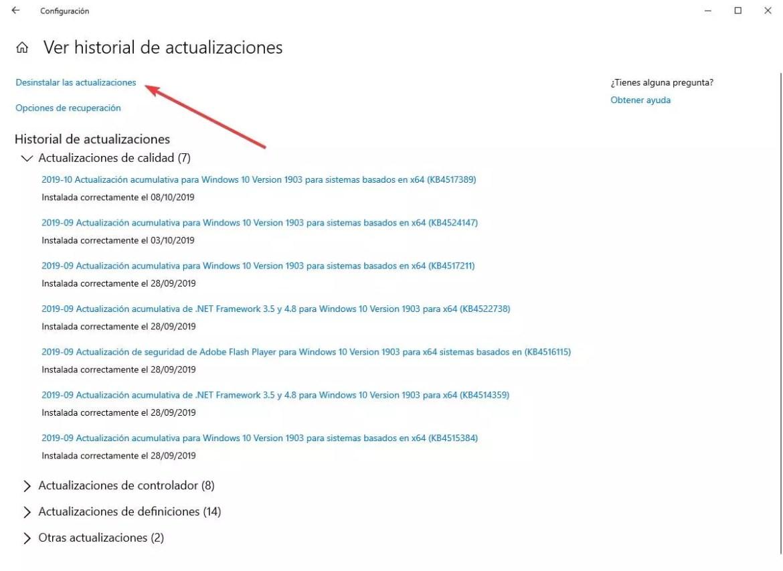 Desinstalar actualización parche Windows 10