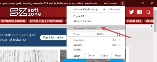 Desinstalar PWA Chrome