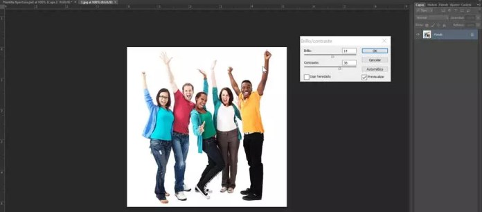 Photoshop upload brightness and shrink to an image
