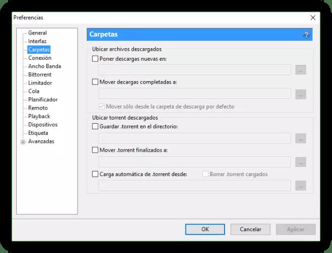 Configuracion uTorrent - Carpetas