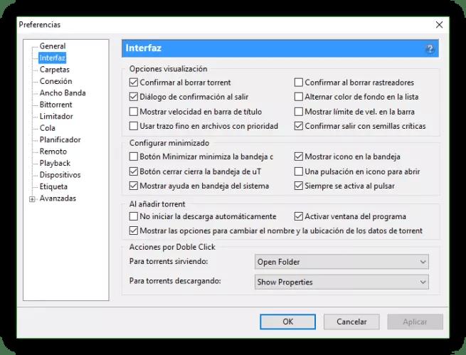 Configuración uTorrent - Interfaz