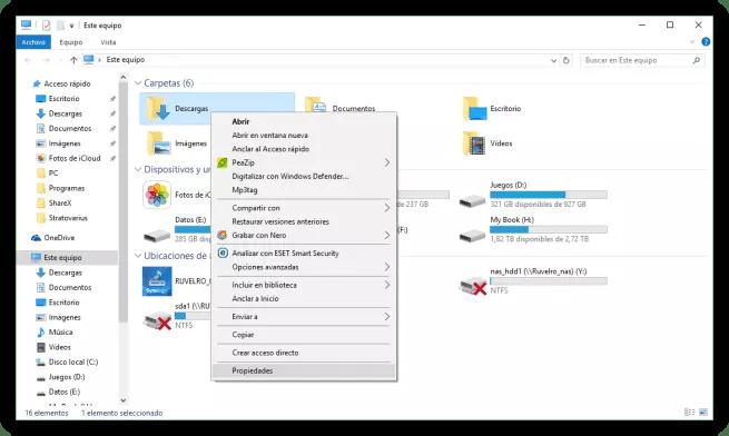 Abrir propiedades de la carpeta Descargas en Windows 10