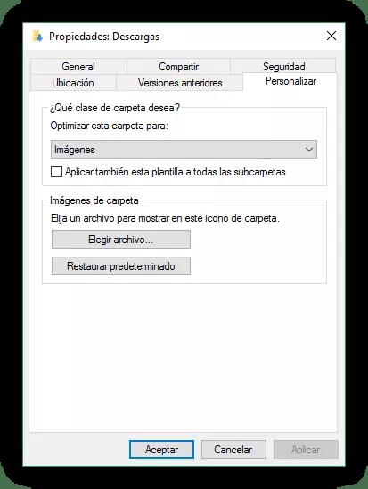 Propiedades de la carpeta Descargas de Windows 10