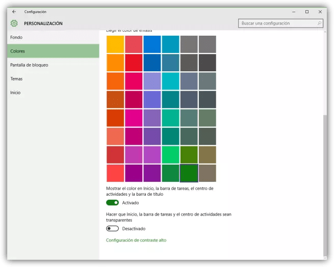 Configurar colores de tema en Windows 10