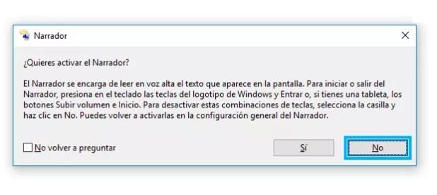 Funcion Narrador de Windows 10