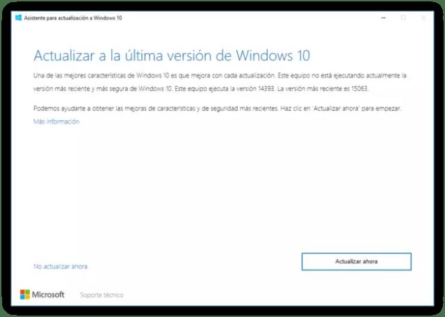 Asistente de actualización a Windows 10 Creators Update 1