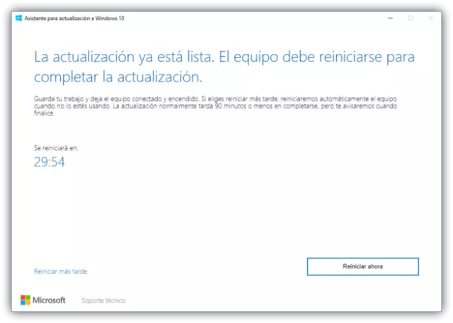 Finalizado Asistente de actualización a Windows 10 Creators Update
