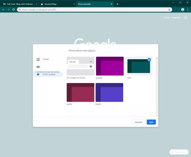 Google Chrome - Opções de personalização Canary - 7
