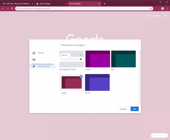 Google Chrome - Opções de personalização Canary - 8