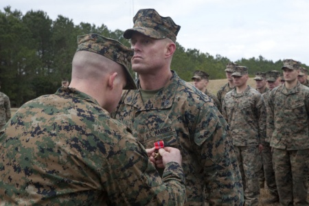 Marine scout sniper awarded Bronze Star with 'V'
