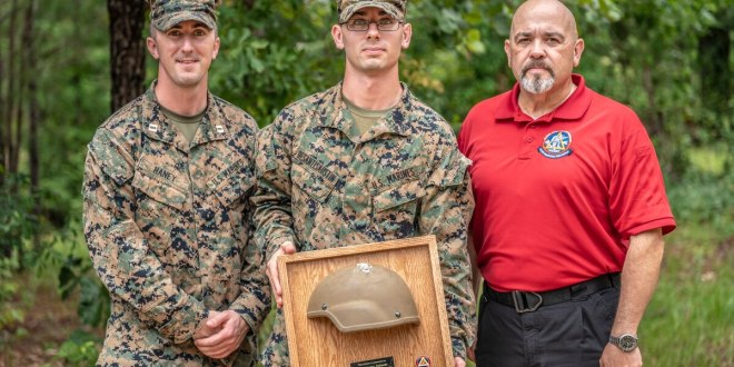 Marine shot in the head in Afghanistan gets back helmet that saved his life| Marine Corps Times