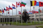 Picture of NATO headquarters of the allies' flags