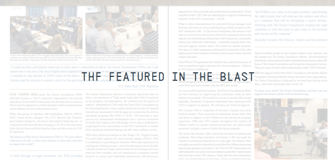 The Honor Foundation: A Community Post Community | The Honor Foundation, The Blast