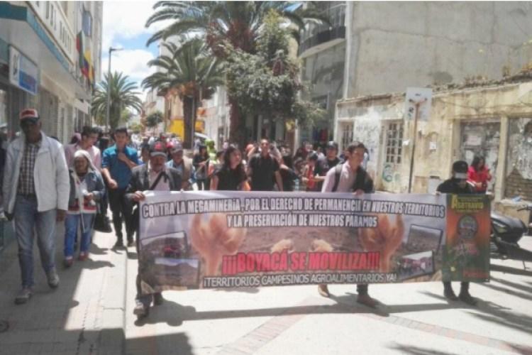 marcha campesina en Sogamoso