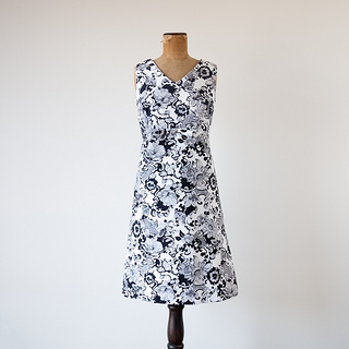 1960s 'Arc de Fleur' black and white floral dress by Jaree Classics