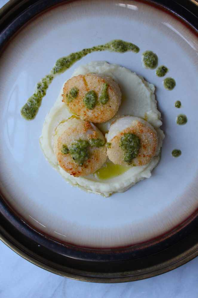 Cornmeal Crusted Scallops with Mint Chimichurri| #SoHappyYouLikedIt #CookbookMonth #CookingLight