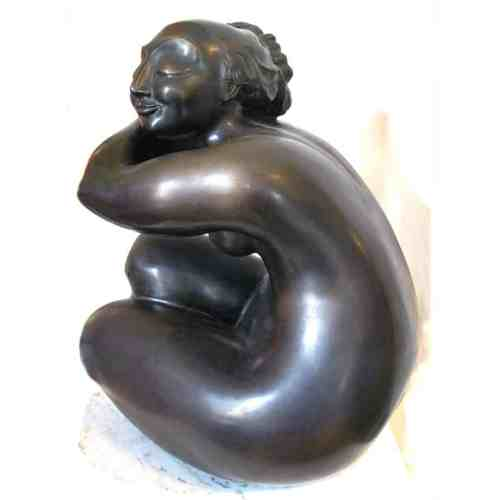 To-Cut-or-Not-to-Cut-3of25--BRONZE-MARBLE-BASE--[Bronze,Table-top,Figurative]-Libucha-Zygmunt-australian-sculpture-female-form-indoor