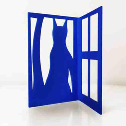 Watching-at-the-Window-25x18.5cm-POWDER-COATED-STEEL-stainless-steel-tabletop-Charles-blackman-australian-sculpture.jpg
