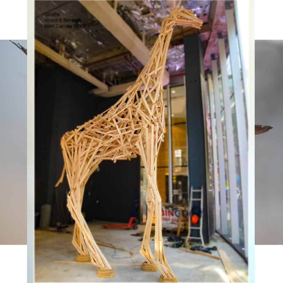 Giraffe 6.5m-WOOD[Landmark, free standing]-Matt-Carney-Australian-giraffe large animal-Sculpture-