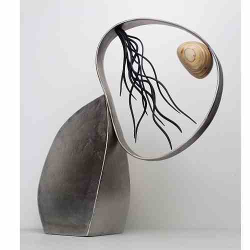 Renew-46cmSTAINLESS-STEEL-PLYWOOD-VENEER[table-top]dDonal-Molloy-Drum-australian-abstract-interior-sculpture-japanese-modern-contemporary-sculpture