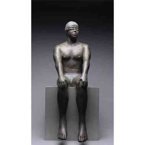 Time-Out-70cm----limited-to-30--BRONZE-WITH-PATINA-[Table-top,Bronze,-Figurative]-mela-cooke-australian-swimmer-masculine-sculpture