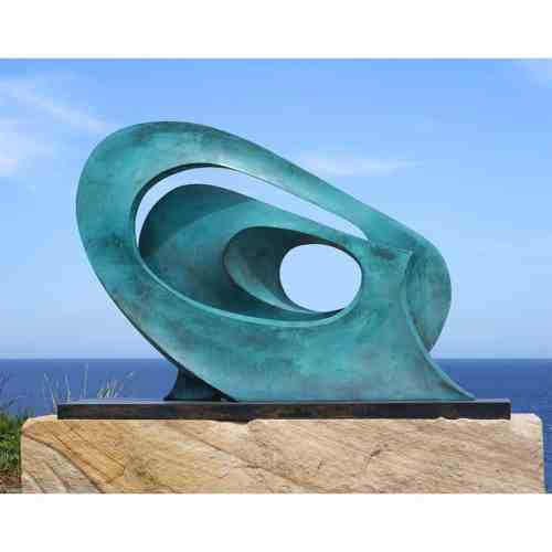 Wave-136x96cm-BRONZE-with--TEAL-PATINAL[Table-top,Free-standing,-bronze]blazeski-australian-abstract-sculpture