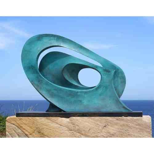 Wave-136x96cm-BRONZE-with--TEAL-PATINAL[Table-top,Free-standing,-bronze]blazeski-australian-abstract-sculpture