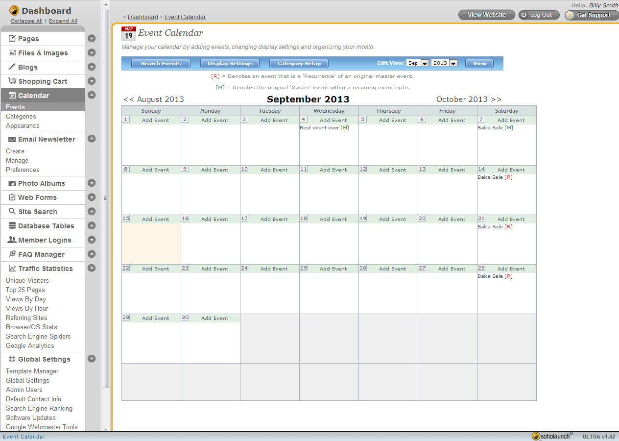 hight resolution of searchable event calendars keep everyone up to date