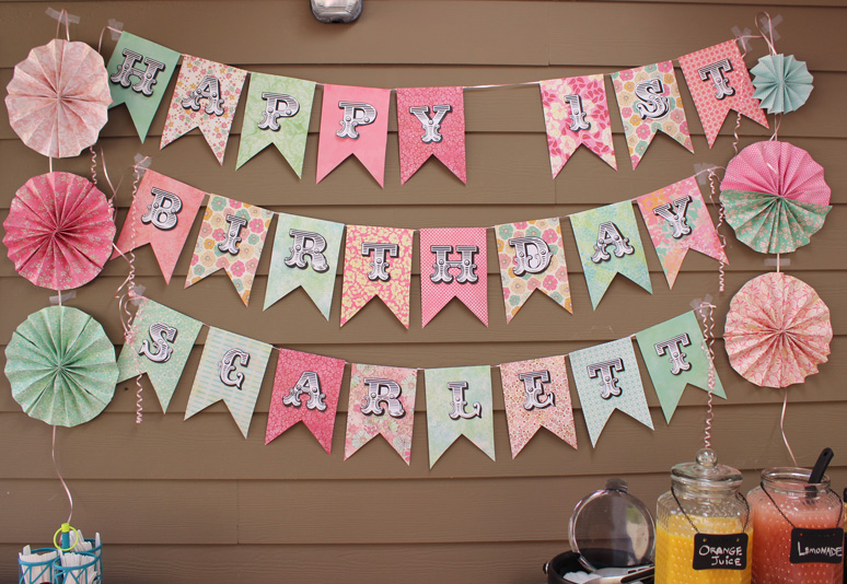 scrapbooking paper banner sign