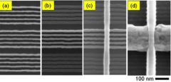 Fabrication of FinFET devices using the self-assembly process (a) before customization; (b) after customization; (c) after gate patterning; and (d) after spacer formation and epitaxial Si growth. (IBM at IEDM '14, paper 32.1)