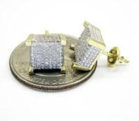 10K Gold Diamond Cube Earrings 0.46CT