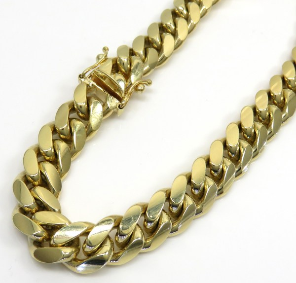 10k Yellow Gold Thick Miami Bracelet 9 9mm