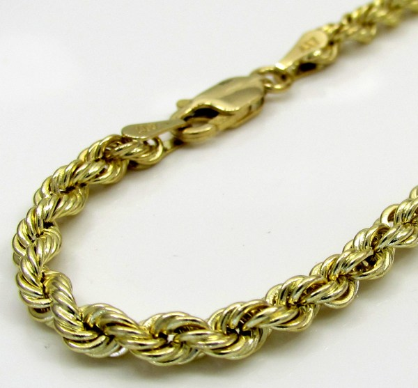 10k Yellow Gold Skinny Smooth Hollow Rope Bracelet 9 4mm