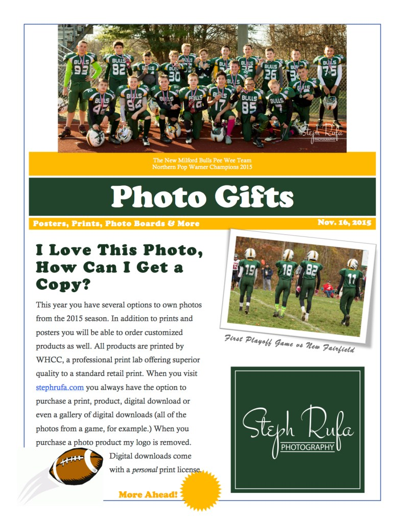 Steph Rufa Photography, soivebeenthinking.com, New Milford Bulls Custom Football Sports Poster Brochure