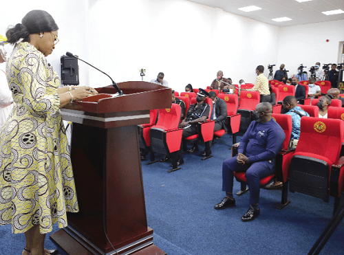 Ms Shirley Ayorkor Botchwey (left), the Minister of Foreign Affairs, speaking at the press conference in Accra.