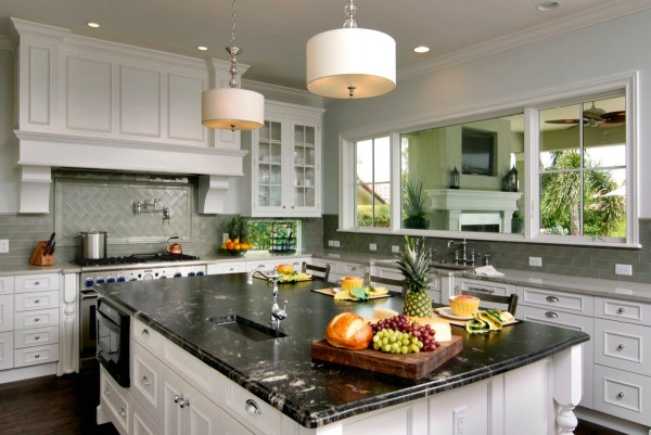 Backsplash White Cabinets with Granite Countertops