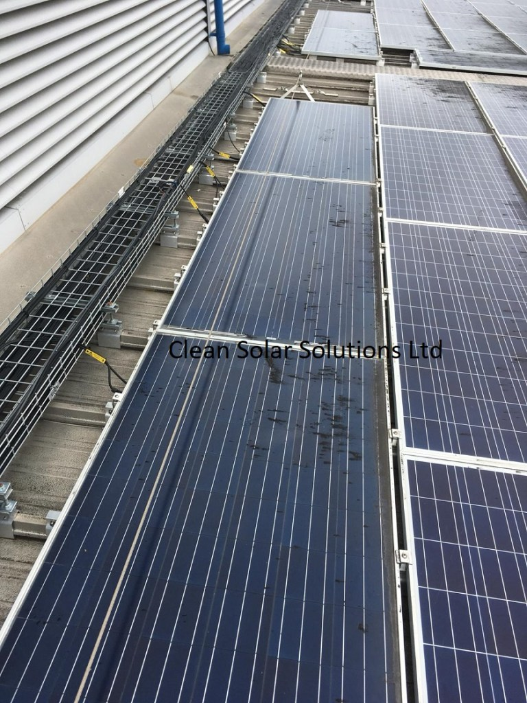 Dirty solar panels in Bristol