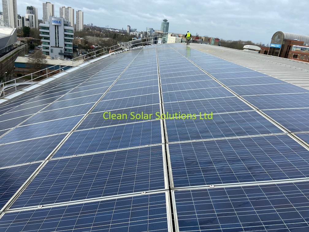Solar panels after cleaning in Chiswick