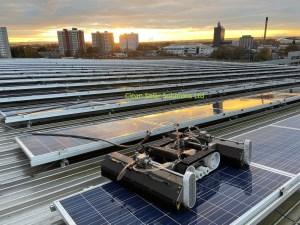 solar panel cleaning robot on solar panels
