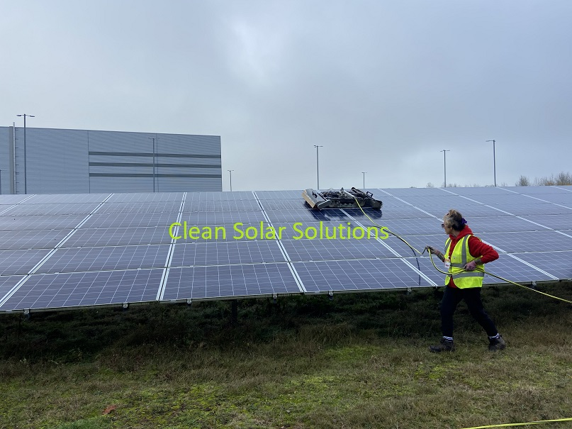 Ground mounted solar panels being cleaned in Worksop with a robot