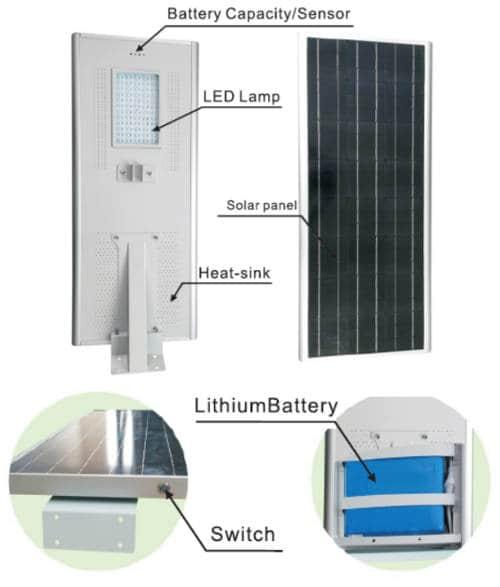 "all in one solar street light components - Luminarias Solares ""Todo en Uno"""