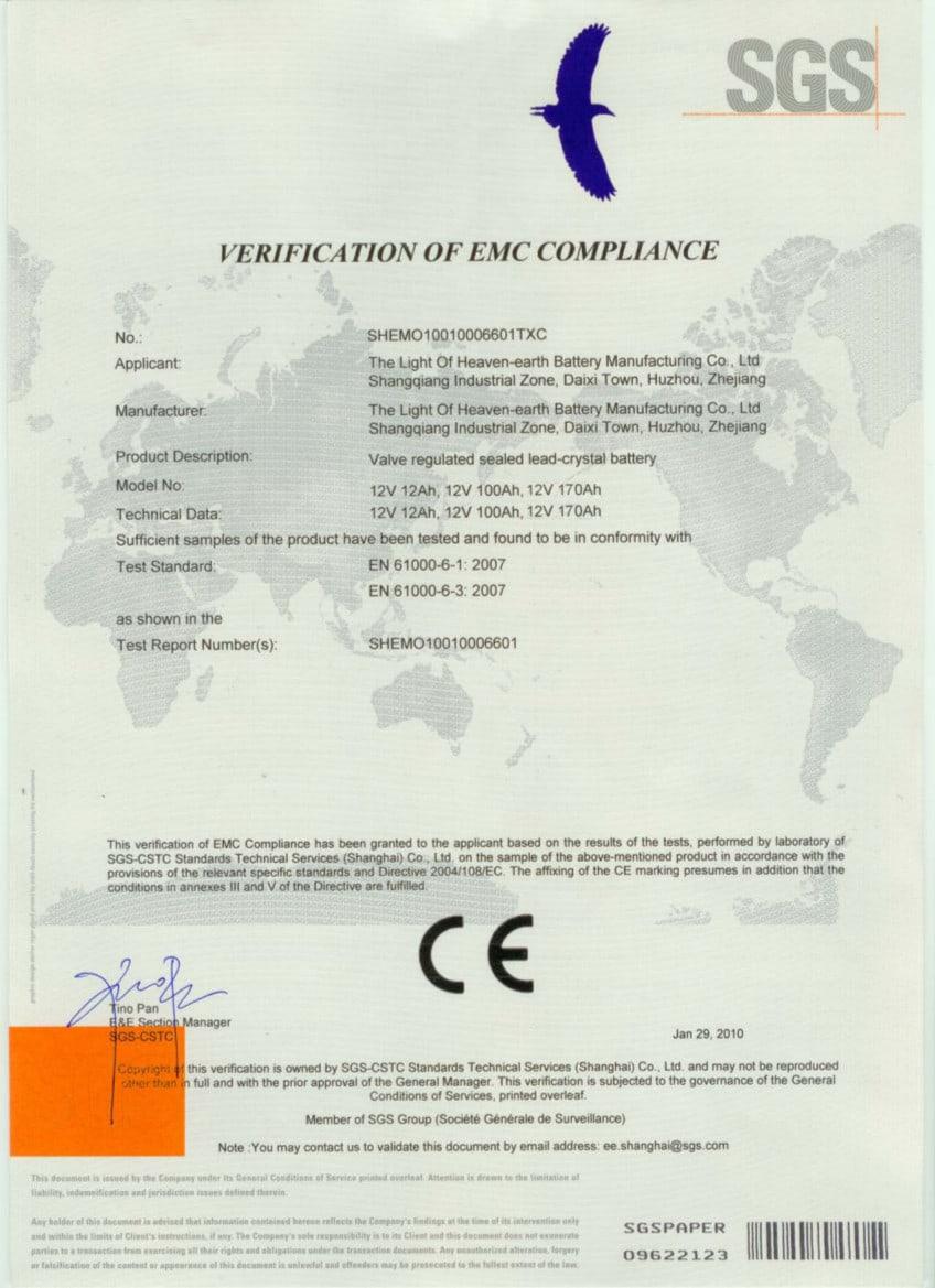 01 CEbattery - Solar street lights certificates