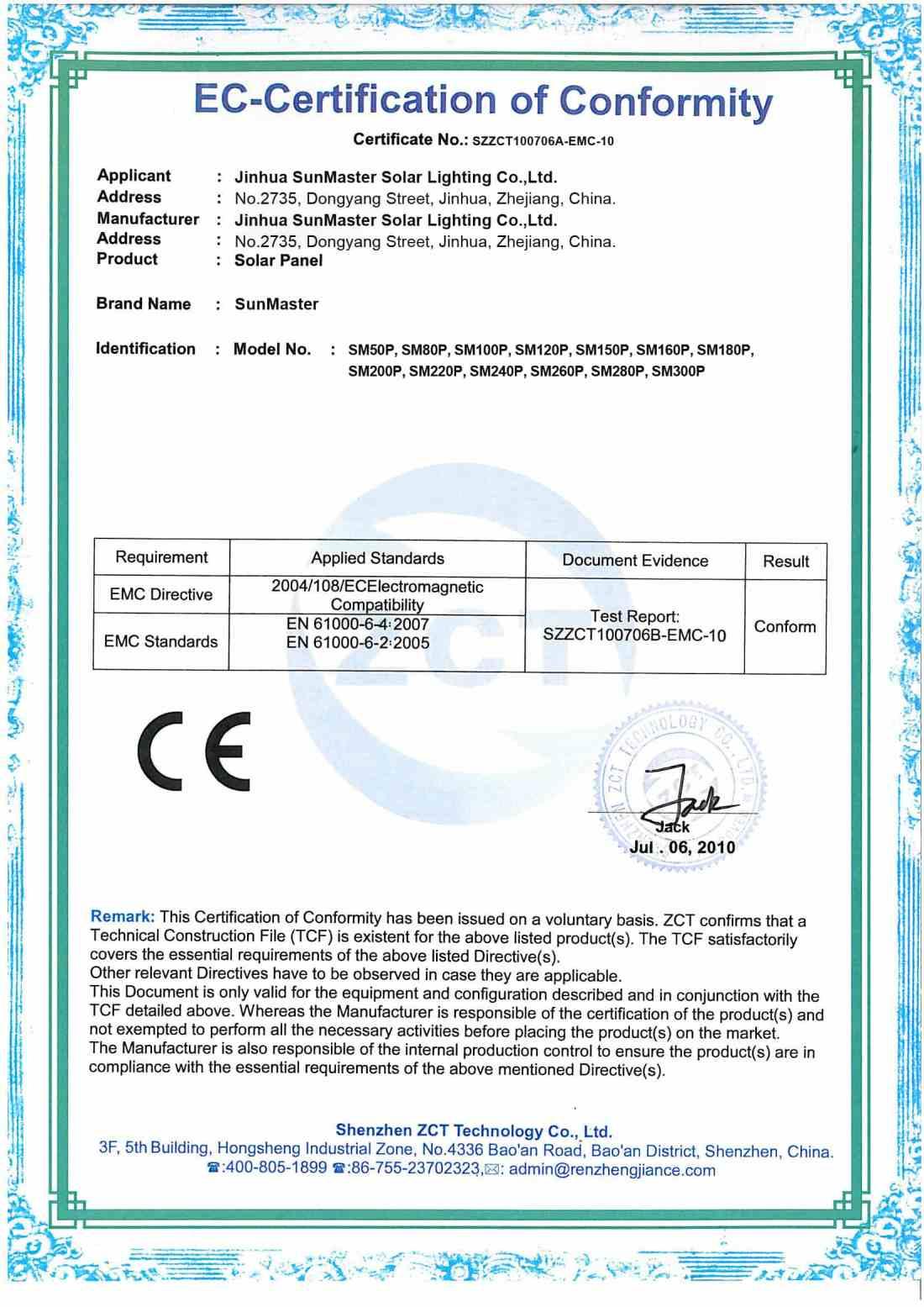 CEsolar-panel Certificados Sistemas de Iluminación Solar SunMaster