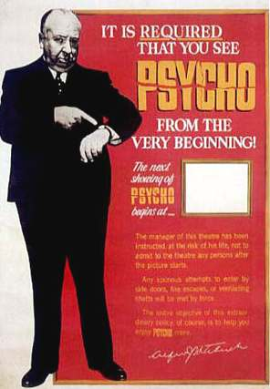 PSYCHO ALFRED HITCHCOCK FILM STARRING ANTHONY PERKINS AND
