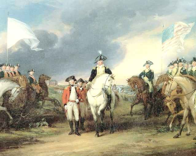 US & French flags at Yorktown (1781)