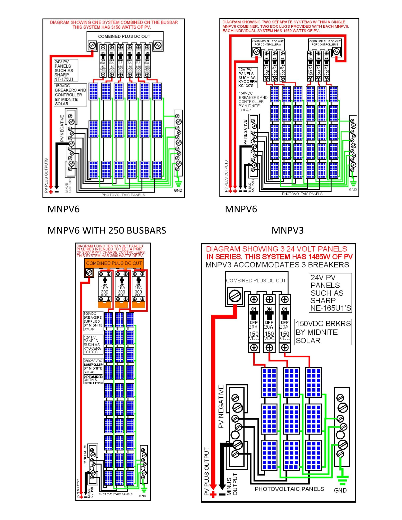 solar pv system wiring diagram two lights to one switch midnite mnpv6 dc combiner box 6 150vdc breakers or